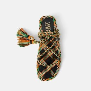 NWT • Zara • Multicolored Woven Flat Sandals
